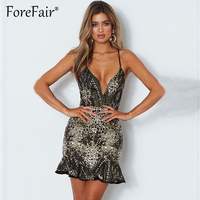 Forefair 2018 Sexy Ruffles Sequined Strap Dress Women Night Clubwear Party Dresses Backless Lace Up Bodycon