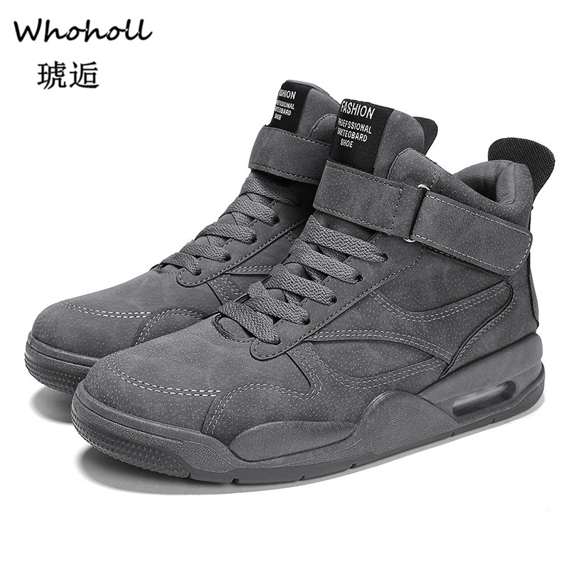 Whoholl NEW Brand High Quality All Black Mens Leather Casual Shoes Fashion Breathable Sneakers Flats Big Plus Size 45