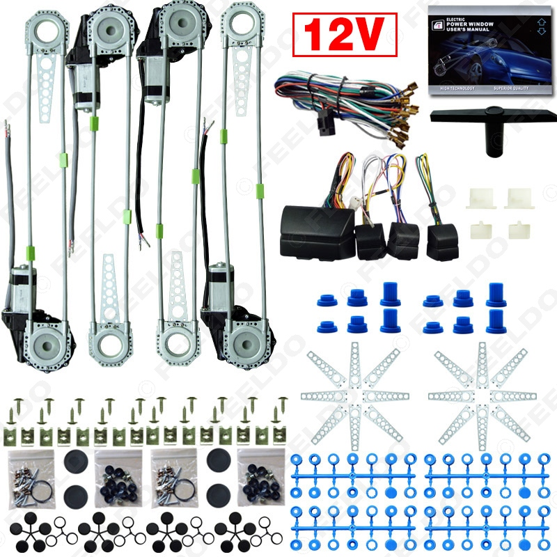 MOTOBOTS DC12V Car/Auto Universal 4 Doors Electronice Power Window kits With 8pcs/Set Swithces and Harness #FD-2845