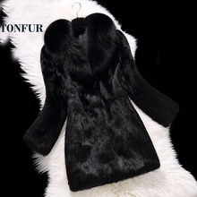 Роскошное пальто из натурального кроличьего меха с натуральным лисьим меховым воротником, лидер продаж,, пальто на заказ размера плюс, TSR100