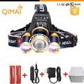 Led Headlight 8000Lm Rechargeable Headlamp Flashlight Head Torch Linterna Xml T6+2Q5 Use 18650 Battery Car Charger Fishing Light