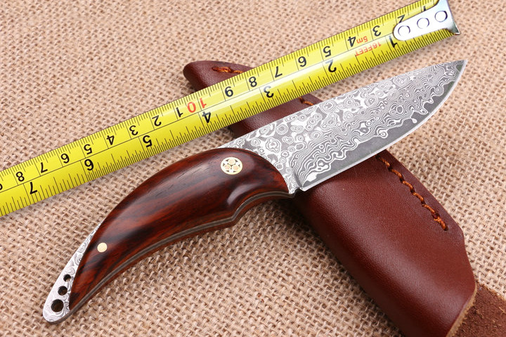 Buy Damascus Hunting Knives Red Sandal Wood Handle Small Straight Knife Survival Tactical Knife Outdoor Knives Camping EDC Tools cheap