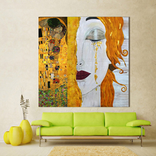 Modern Oil Painting Canvas Art Abstract Gustav Klimt Golden Tears Wall Pictures For Living Room Home Decor handPainted