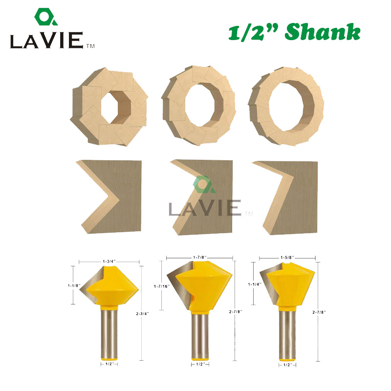 3PCS 12mm 1/2 Inch <font><b>12</b></font>.7mm Multi Sided Glue Joint Router Bits Set 8 <font><b>12</b></font> <font><b>16</b></font> Joints Tenon Milling Cutter for Wood Woodworking 03065 image