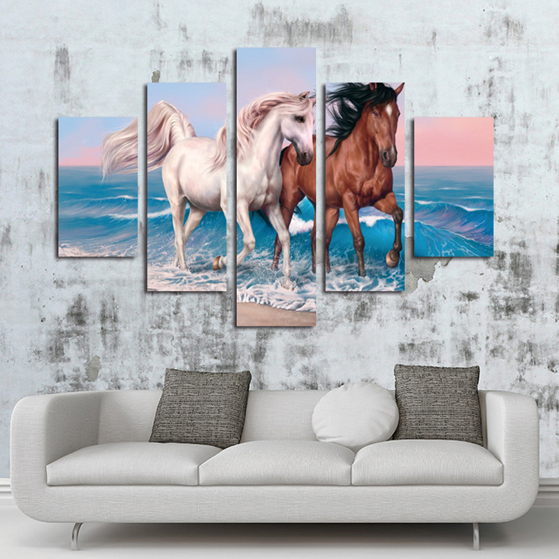 Horse Wave Diamond Painting Cross Stich Home Decor 3D DIY 5Pcs Round Diamond Animal Painting Full Drill Mosaic Diamond Craft