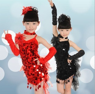 Free Shipping Girl Latin Dance Skirt Sequined Children Latin Skirt Ballet Dance Dress Girls Kids Latin Dance Dresss For Sale