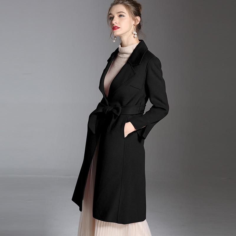 Double Couleur Jog Femme Longue Mcerg Manteau En Laine Hiver Cachemire High pourpre Violet Manteaux face Noir Street 2018 De Design Haut Noir Pur wHtqPdrH