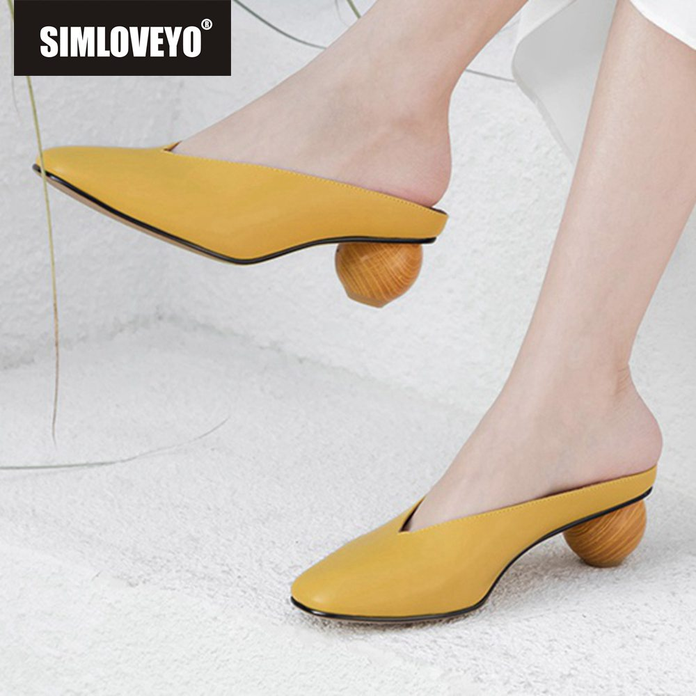 SIMLOVEYO Women genuine leather Candy color Mules shoes Ladies flip flops Cow leather ball heel slippers