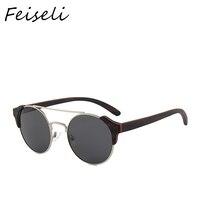 Feiseli Hot Sale Wood Frame Polarized Sunglasses Women Men Brand Design UV400 Protected Fashion Sun Glass