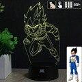 HY Dragon Ball Z Vegeta 3D Remoto LED Táctil Luz de La Noche mesa de Escritorio de La Lámpara 7 Cambio de Color LED USB Cargador Multifunción Regalo tarjeta