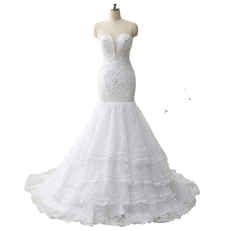 Organza Wedding Gowns: Real Picture Embroidered Pearls Mermaid Wedding Dresses