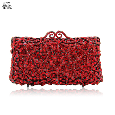 XIYUAN BRAND Diamond Women Crystal Clutch Minaudiere Handbags Purses Wedding Party Cocktail Evening Clutches Chain Shoulder Bag women custom name crystal big diamond clutch crossbody chain bag women handbags evening clutch bag 1001bg