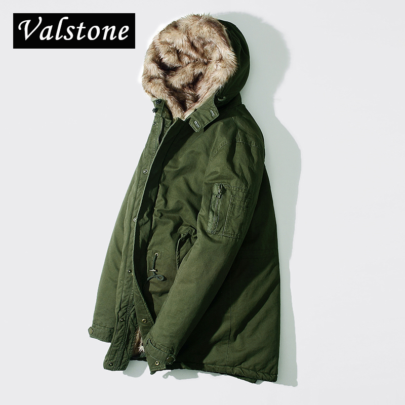 Valstone 2017 Quality Winter warm Parkas Men winter Coats Slim long pattern Warm cotton-padded clothes warm clothing streetwear valstone new quality winter warm parkas men thick coats regular pattern leather collar warm clothing velvet overcoat hooded 3xl