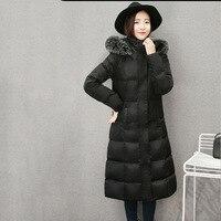 Модные милые леди Тип утолщение Длинные теплые зимние Для женщин пуховая куртка длинные мех лисы с капюшоном тонкий Для женщин зимняя одежд