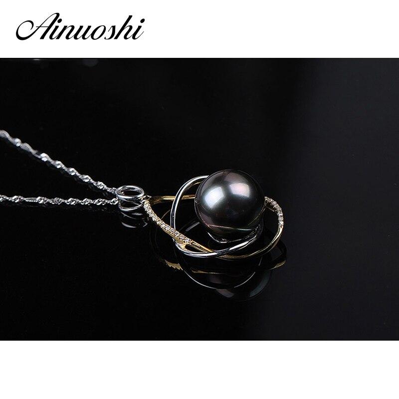 AINUOSHI Mode 925 Sterling Argent Or Jaune Couleur de Fiançailles Collier Pendentifs Tahiti Noir Perle 11mm Perle Ronde Pendentifs - 3
