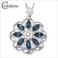 Luxurious silver sapphire pendant 8pcs 3mm*6mm natural dark blue sapphire gemstone necklace pendant solid 925 silver gem pendant
