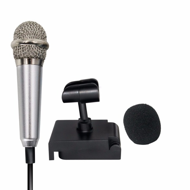 Portable mobile phone PC Laptop Chatting Singing Karaoke 3.5mm set Mini smart microphone, Stereo Condenser Mic for