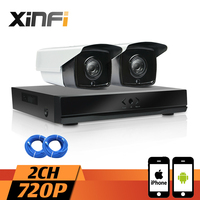XINFI 2CH HDMI NVR Network Video Recorder 720P HD Home Security Camera System CCTV Kit