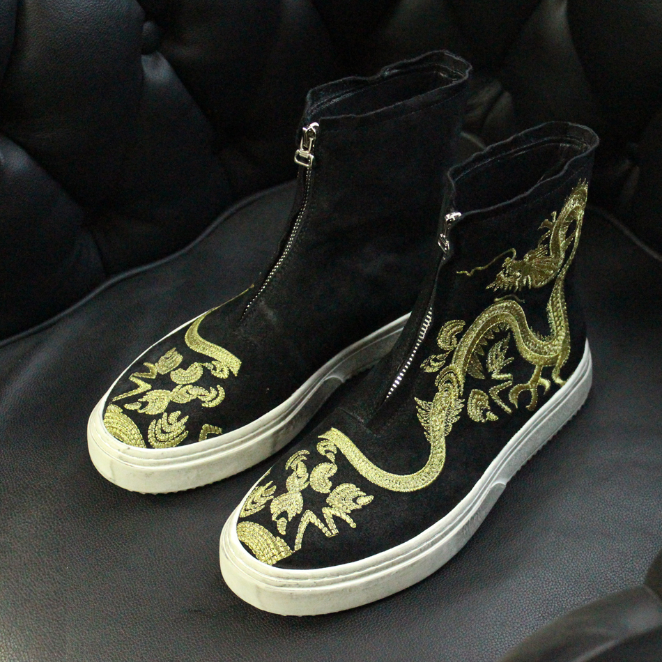 2017 leisure style dragon print embroidered suede leather short boots black round toe short ankle booties vintage totem boots ethnic style totem print shirred waist dress