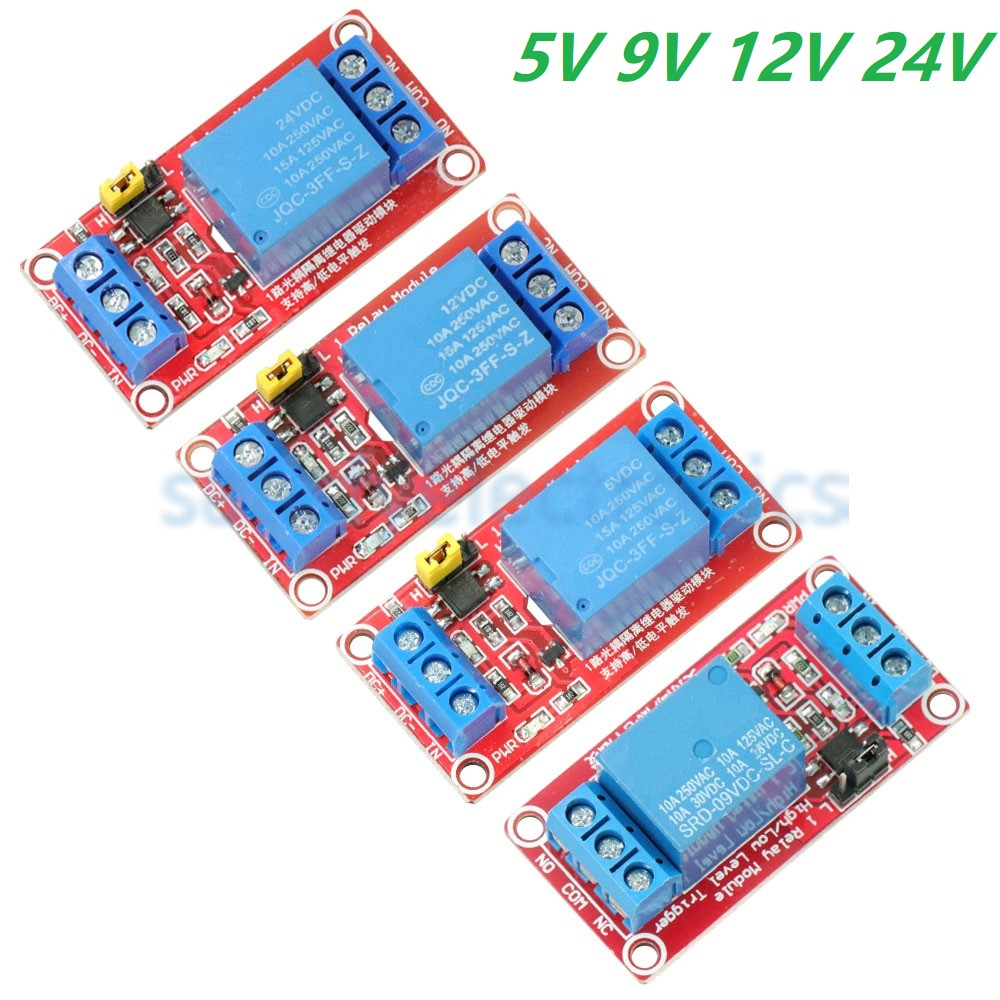 DC 5V 9V 12V 24V 1 Channel Relay Module With Optocoupler Shield Board High And Low Level Trigger Power Supply Module