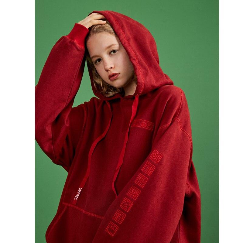 UNIFREE 2019 Automne nouveauté rouge sweatshirt hauts femmes marée fire fall chemise à capuche longue section style Coréen lâche UAA183A017