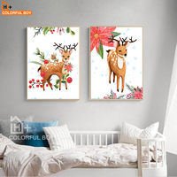 COLORFULBOY Wall Art Painting Nordic Christmas Deer Canvas Painting Nursery Posters And Prints Wall Pictures For Kids Room Decor