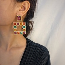 Luxury Designer Earring 2019 Colorful Acrylic Crystal Earrings for Women Boho Fashion Statement Drop Female Gifts