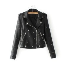 8c10a9d06b6 2018 New style Women Punk Leather Jacket Soft PU Faux Leather Jacket Bomber Coats  Rock Motorcycle Woman Jacket TBWA630