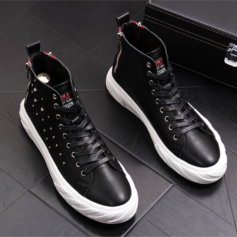 CuddlyIIPanda 2019 Men Fashion Ankle Martin Boots Male Rivets Casual Punk Shoes High Top Luxury Hip Hop Sneakers Chaussure Homme    1