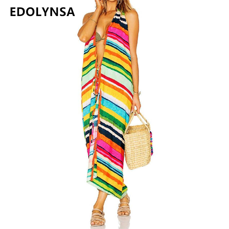 2018 Bikini Cover up Pareos Beach Cover up Rayon Striped Long Beach Dress Robe de Plage Swimwear Tunic Swimsuit Coverups #Q32 striped tunic dress beach cover up with sleeves