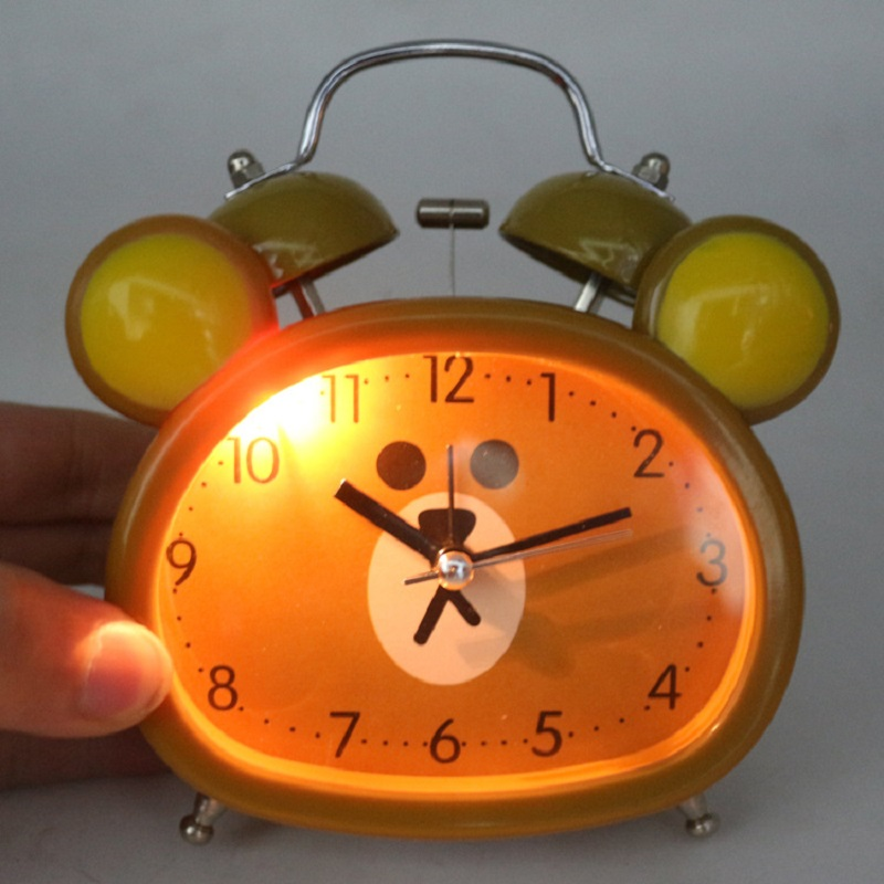 Meijswxj Alarm Clock Saat Reloj Despertador Mute Cartoon Desk Clock ringtones Snooze Student Bedside Bracket Luminous clocks