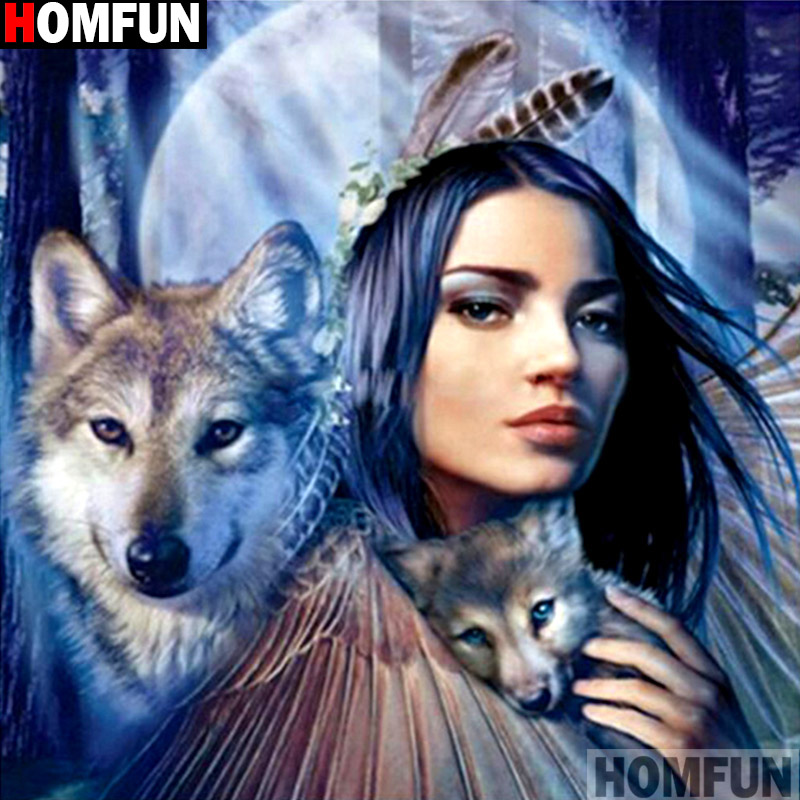 HOMFUN Full Square Round Drill 5D DIY Diamond Painting quot Beautiful wolf quot 3D Embroidery Cross Stitch 5D Decor Gift A14827 in Diamond Painting Cross Stitch from Home amp Garden