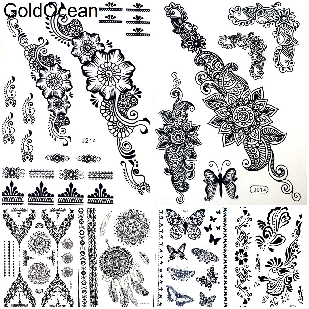 Hot Waterproof Black Henna Flower Temporary Tattoo Sticker Women Arm Leg Bracelet Fake Tattoo Wedding Wrist Tatoo Body Art Chain