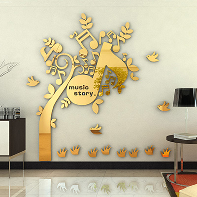 New arrival Notes music Acrylic wall stickers Bedroom mirror art decor Background wall DIY wall stickers