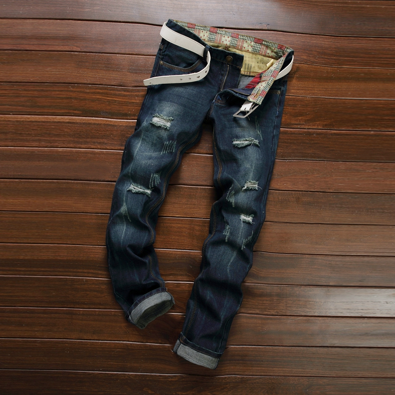 Famous Brand Designer Slim Fit Ripped Jeans For Men Hi Street Mens Distressed Denim Joggers Knee
