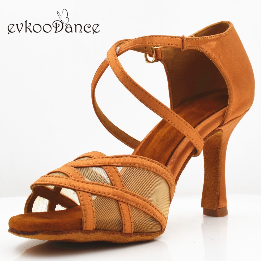 Evkoodance Women Latin Dance SHOES Tan Heel 8.3 Cm Professional Size Us 4-12 Dancing Shoes For Women Salsa DancingEvkoo-524