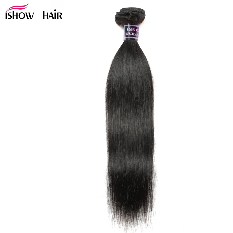 Ishow Hair Peruvian Straight Hair Weave Bundles Human Hair Extensions Double Weft Hair Bundles Non Remy 1 Piece Bundles Deal