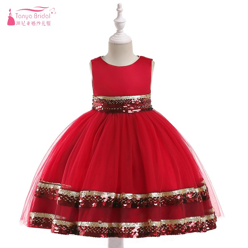 Red/Champagne/ Blue /Black Sparkly   Flower     girls     Dress   for wedding Party Wear Christmas gift Pagent Communion Gowns ZF111