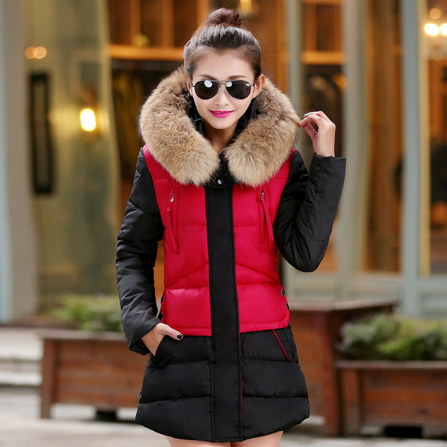 Free Shipping 2016 new winter long Korean Style Fashion Women Slim Fit Down padded cotton jacket Fur collar Women coat Parkas