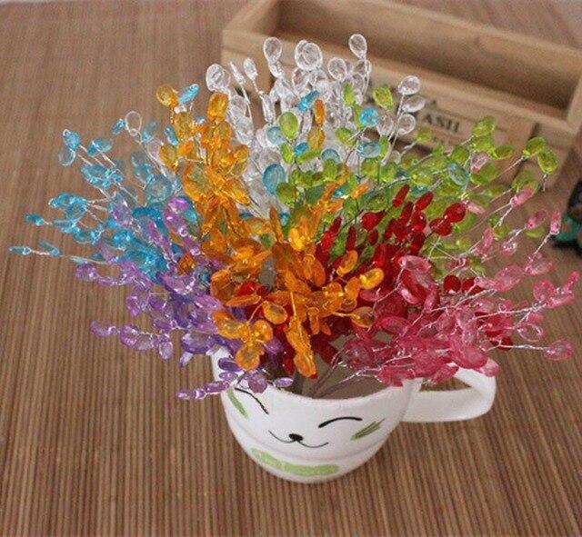 Acrylic kristal penurunan manik manik kawat batang bunga tandan e93fe4d69c