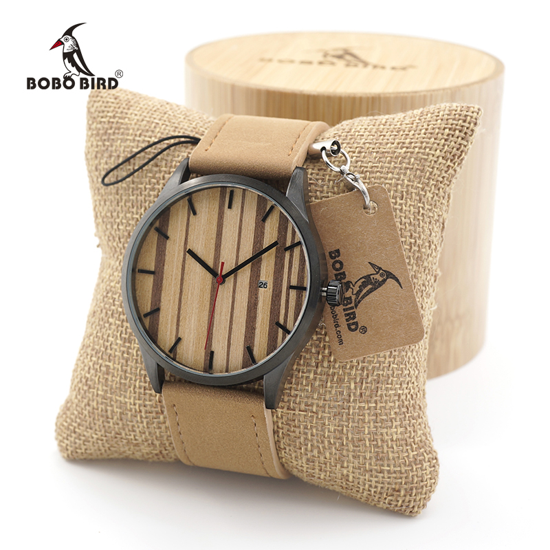 BOBO BIRD Multfunction Calendar Mens Watches Wooden Quartz Watches with Real Leather Strap in Gift Box relojes hombre