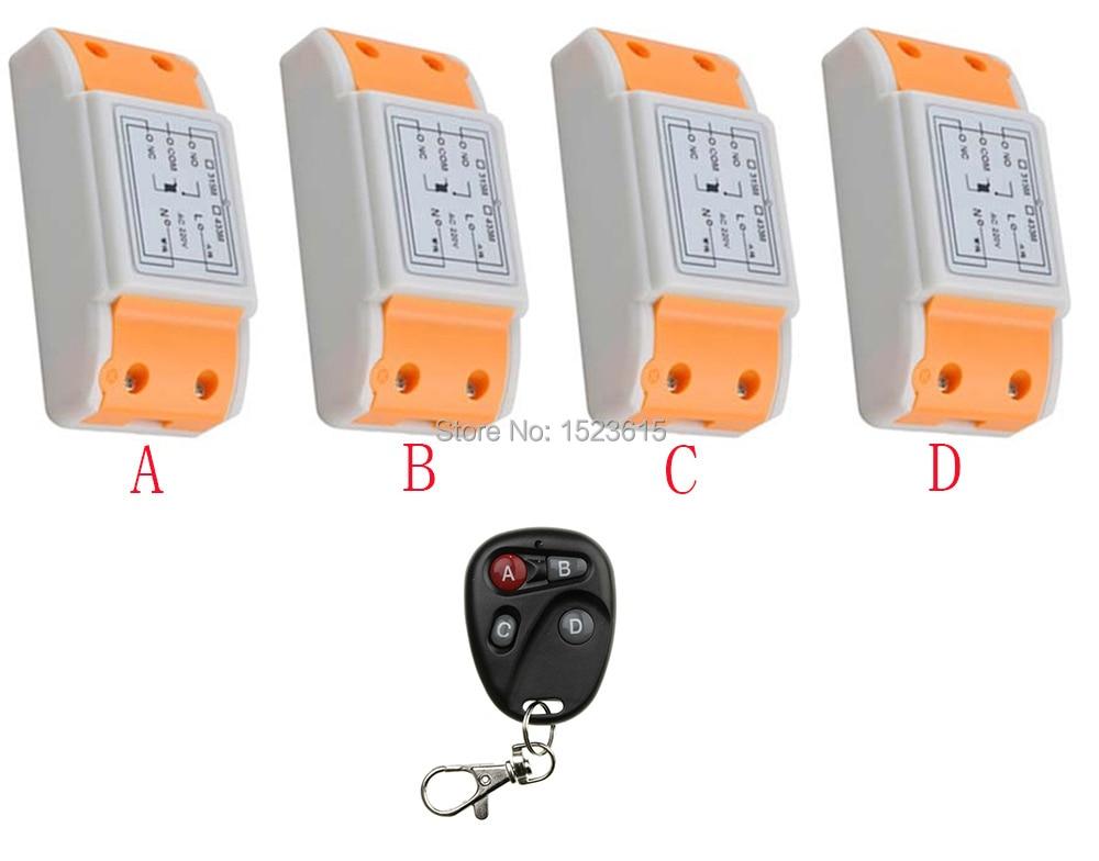 ФОТО New AC220V 1CH Radio Controller RF Wireless Relay Remote Control Switch 315 MHZ 433 MHZ 1 Transmitter +4 Receiver