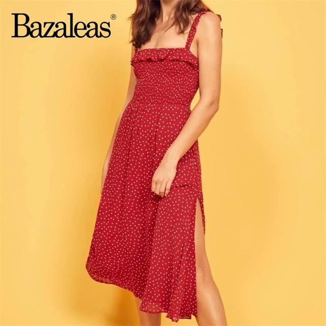 3d2d547b4e28a Bazaleas Vintage Ruffles Slim Red Dot Print Spaghetti straps Midi Dress  Fashion summer Split vestido drop shipping
