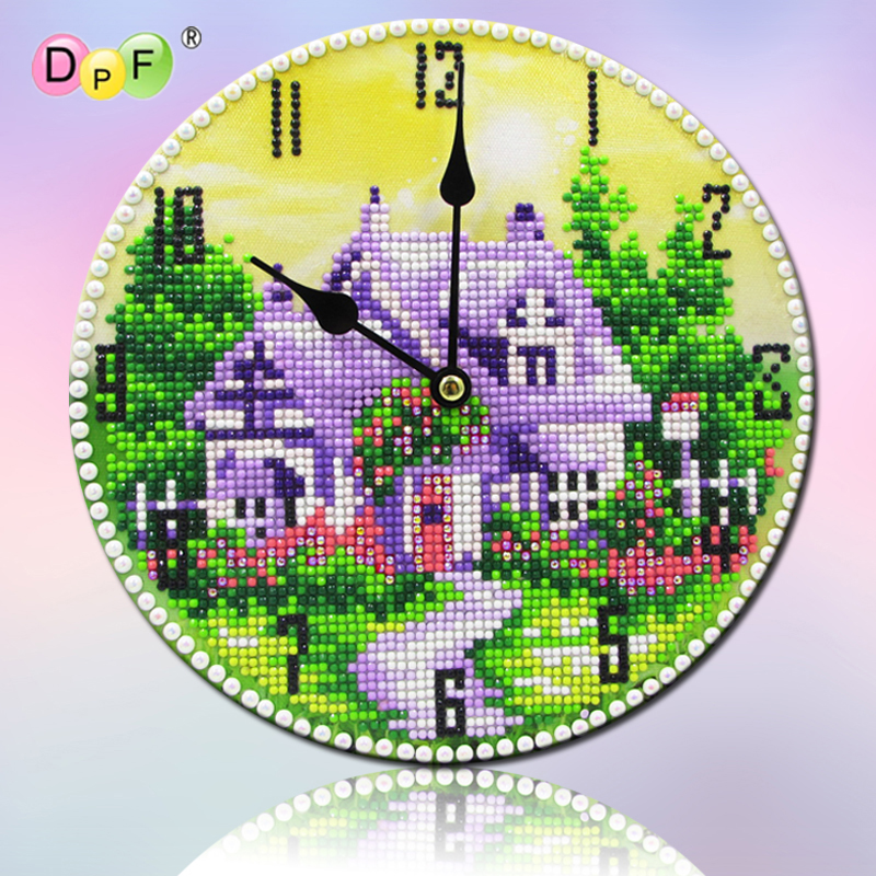 DPF DIY pink house clock 5D round diamond painting art handwork diamond embroidery mosaic gift wall clock home decor art craftsDPF DIY pink house clock 5D round diamond painting art handwork diamond embroidery mosaic gift wall clock home decor art crafts