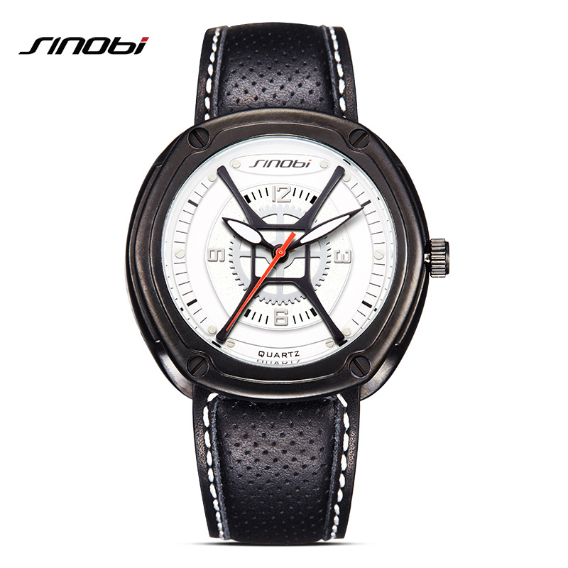 SINOBI Brand Watches Men Quartz Analog Wristwatches Breathable Leather Clock Man Sports Watches Army Watch Relogio Masculino sinobi 1850 men alloy analog quartz watch