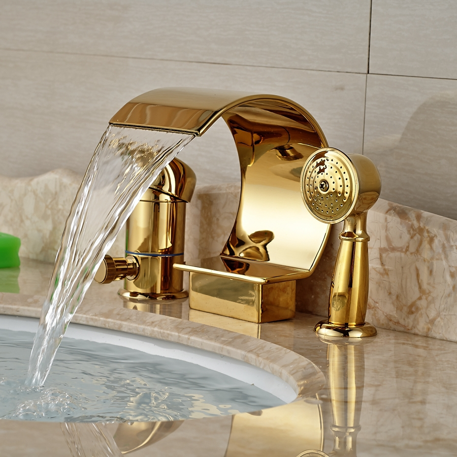 popular bath shower mixer diverter buy cheap bath shower mixer wholesale and retail promotion luxury golden brass waterfall bathroom tub faucet diverter w hand sprayer