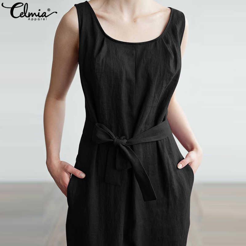 76c08e59c94 ... Celmia Women Jumpsuit 2019 Summer Trouser Harem Pants Sleeveless Rompers  Elegant Casual Plus Size Overalls Office