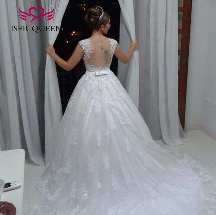 新しいレースアップリケローブデのみ  ウェディングドレスの花嫁衣装クリスタルサッシノースリーブ夜会服のウェディングドレス 2019 W0480  グループ上の ウェディング & イベント からの ウェディングドレス の中 1