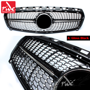 Image 4 - יהלומי מול סורג עבור מרצדס בנץ ברמה W176 מבריק שחור ללא סמל תג ABS החלפת 2013 15 a180 A250 A200 A300