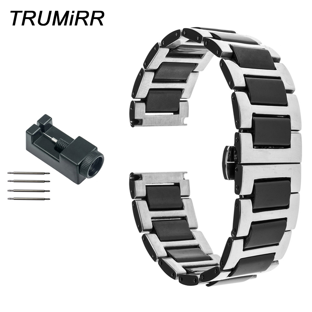 18mm 20mm 22mm Ceramic + Stainless Steel Watch Band for Citizen Men Women Strap Butterfly Buckle Belt Wrist Bracelet Black White 20mm 22mm ceramic